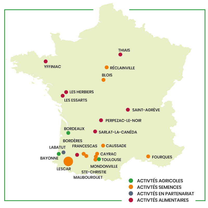 Groupe Euralis, acteurs du développement local, la carte de France
